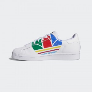 ADIDAS SUPERSTAR PURE WHITE/RED/BLUE