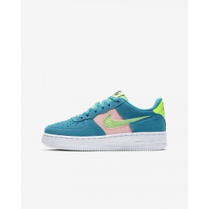 NIKE AIR FORCE 1 LV8 GS ORACLE AQUA/GHOST GREEN-WASHED CORAL