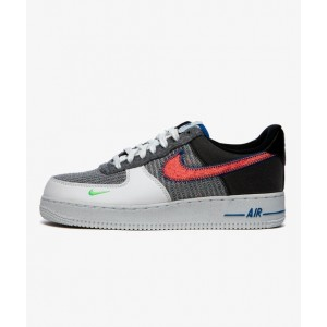 NIKE AIR FORCE 1 '07 SPORT RED/ GREY-ELECTRIC GREEN
